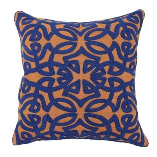 Kosas Home Jaden Sienna and Dark Blue 18 inch Pillow