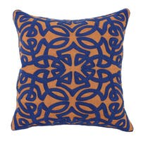 Kosas Home Jaden Sienna and Dark Blue 18 inch Pillow
