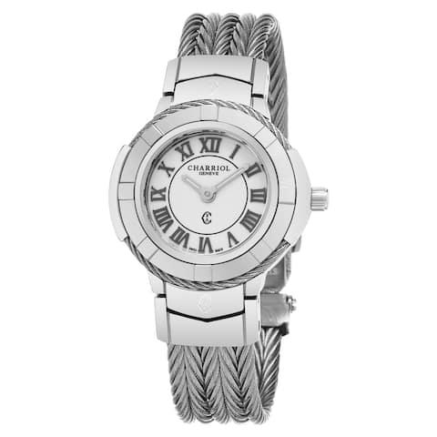 Charriol Women's CE426S.640.007 'Celtic' White Dial Stainless Steel Swiss Quartz Watch