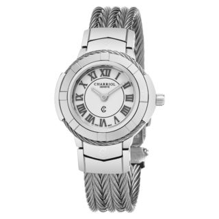 Charriol Women's CE426S.640.007 'Celtic' White Dial Stainless Steel Swiss Quartz Watch
