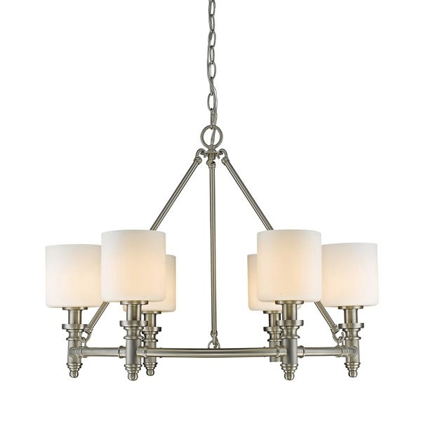 Beckford PW 6-light Chandelier in Pewter with Opal Glass