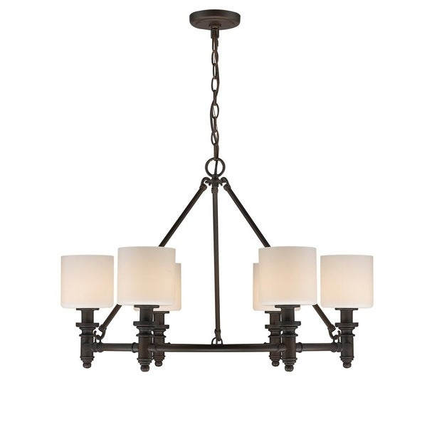 Beckford RBZ 6 Light Chandelier in Rubbed Bronze with Opal Glass