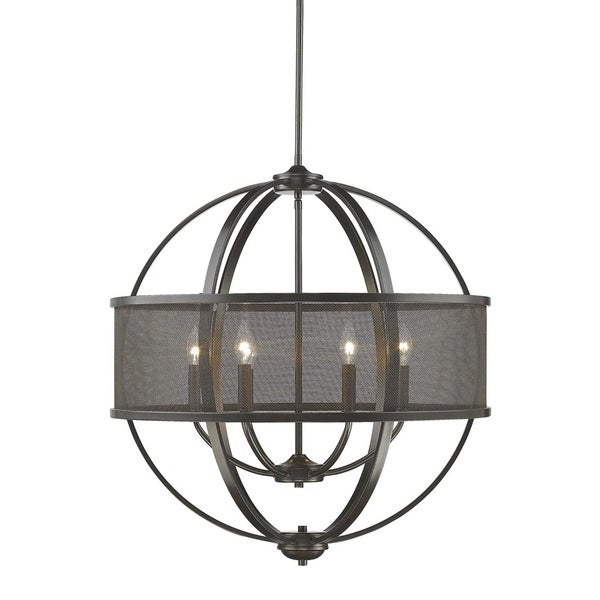 Colson EB 6 Light Chandelier (with shade) in Etruscan Bronze