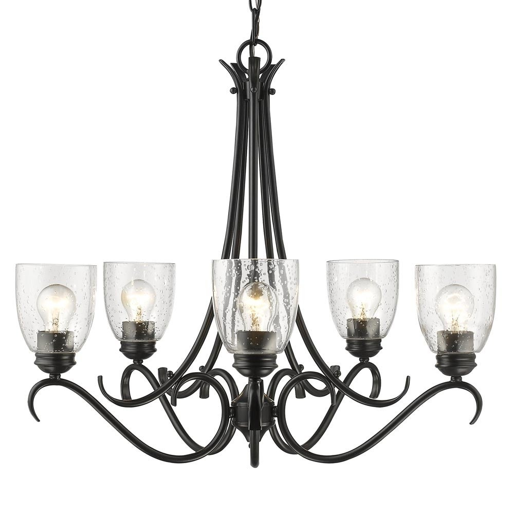 Parrish 5 Light Chandelier In Black With Seeded Glass Overstock 14053381