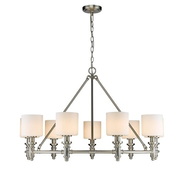 Beckford PW 9 Light Chandelier in Pewter with Opal Glass