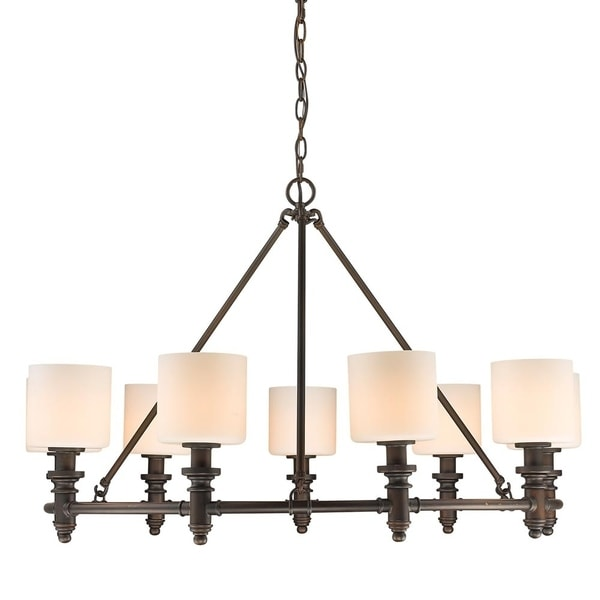Beckford RBZ 9 Light Chandelier in Rubbed Bronze with Opal Glass