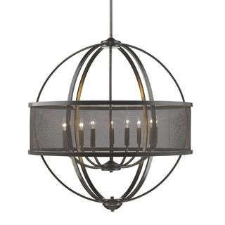 Colson EB 9-light Chandelier (with shade) in Etruscan Bronze|https://ak1.ostkcdn.com/images/products/14053401/P20668418.jpg?impolicy=medium
