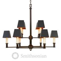 Bradley 2-Tier Cordoban Bronze 10-Light Chandelier with Black Shades