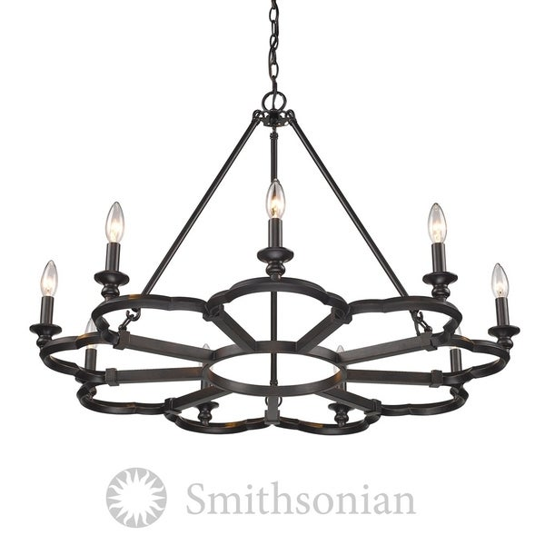 Saxon Aged Bronze 9-Light Chandelier