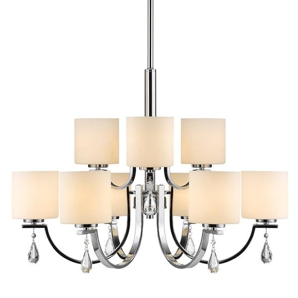 Evette Chrome 9-Light Chandelier with Opal Glass