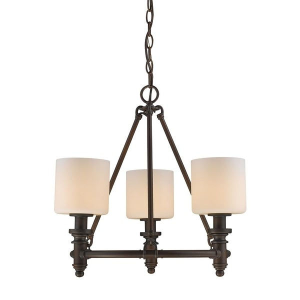 Beckford RBZ 3 Light Chandelier in Rubbed Bronze with Opal Glass