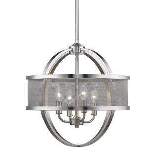 Colson Pewter 4-Light Chandelier with Mesh Metal Shade