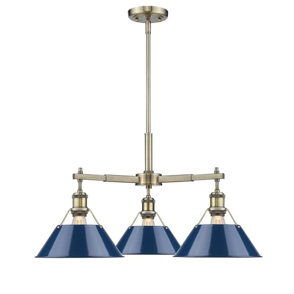 Orwell AB 3-Light Aged Brass Nook Chandelier w/ Navy Shades