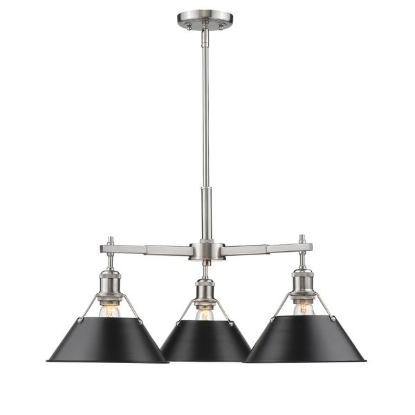 Orwell Pewter 3-Light Nook Chandelier with Black Shade