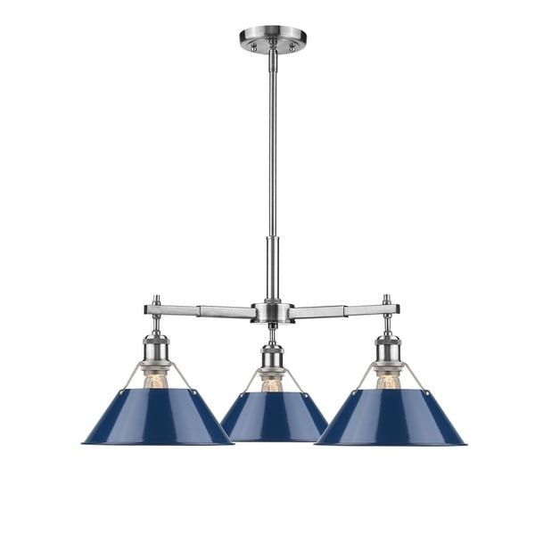 Orwell PW 3-light Nook Chandelier in Pewter with Navy Blue Shade