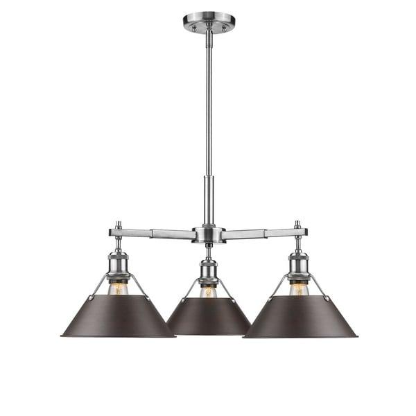Orwell PW 3-light Nook Chandelier in Pewter with Rubbed Bronze Shade