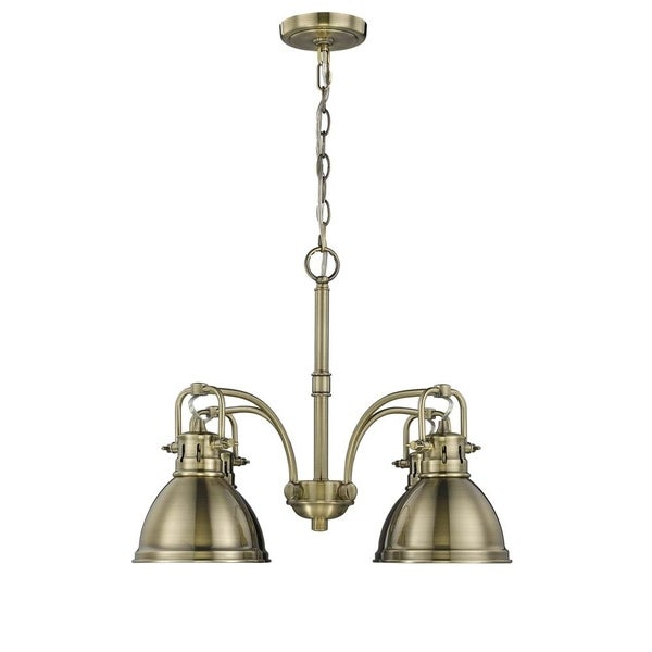 Duncan 4-light Nook Chandelier in Aged Brass with Aged Brass Shades