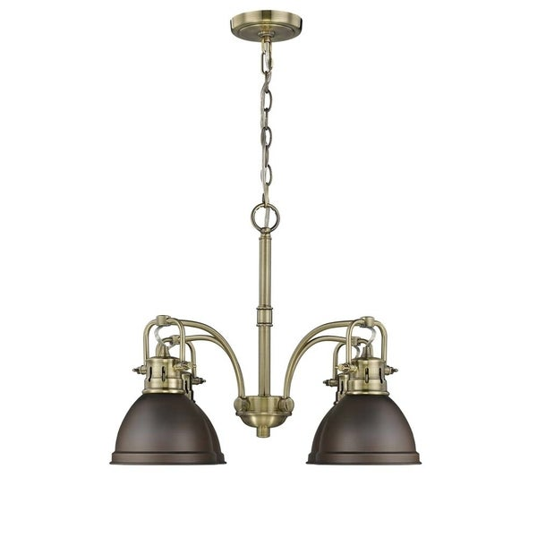 'Duncan' 4-Light, Aged Brass Nook Chandelierw/ Bronze Shades