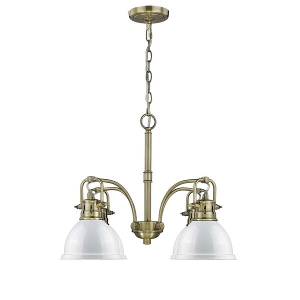 Duncan Aged Brass 4-Light Nook Chandelier with White Shades