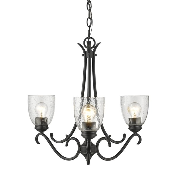 Parrish Traditional Black Steel 3-Light Chandelier with Seeded Glass Shades
