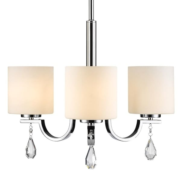 Evette Chrome 3-Light Chandelier with Opal Glass