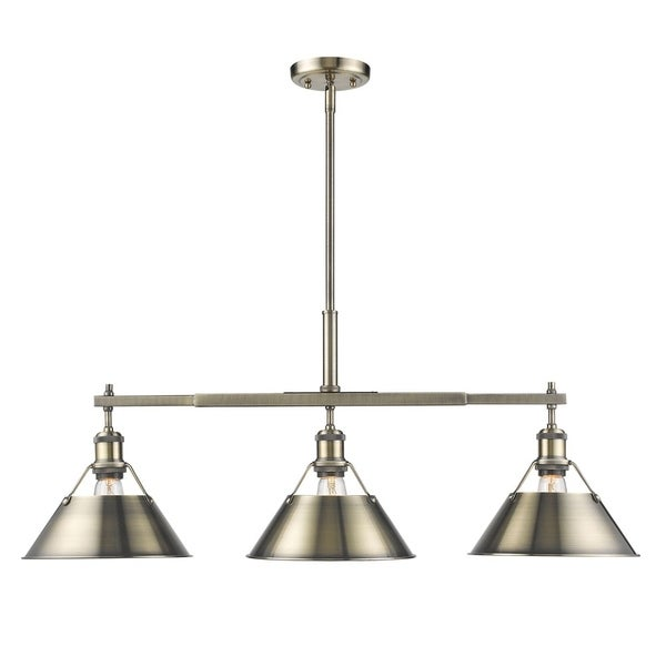 Orwell Aged Brass Linear Pendant with Aged Brass Shade