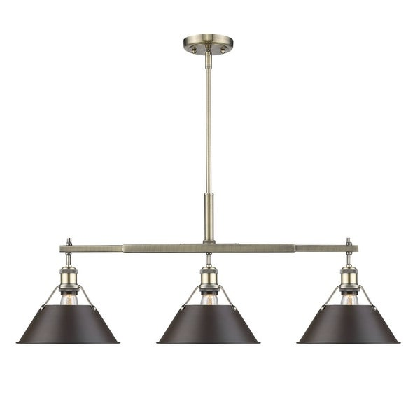 Orwell AB Linear Pendant in Aged Brass with Rubbed Bronze Shade