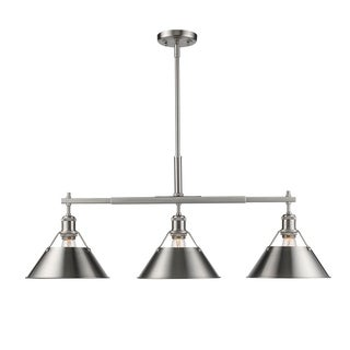 Orwell Pewter Linear Pendant with Pewter Shades