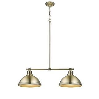 Duncan 2-light Linear Pendant in Aged Brass with Aged Brass Shades