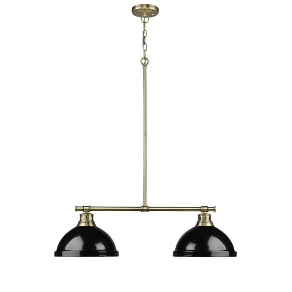 Duncan 2 Light Linear Pendant in Aged Brass with Black Shades