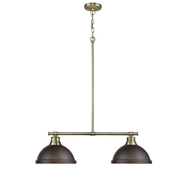 Duncan Aged Brass 2-Light Linear Pendant with Rubbed Bronze Shades