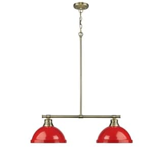 Duncan 2-light Linear Pendant in Aged Brass with Red Shades