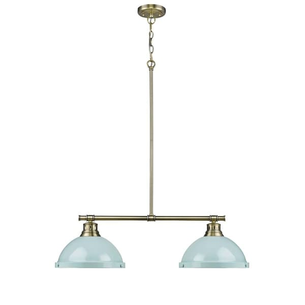 Duncan 2-light Linear Pendant in Aged Brass with Seafoam Shades