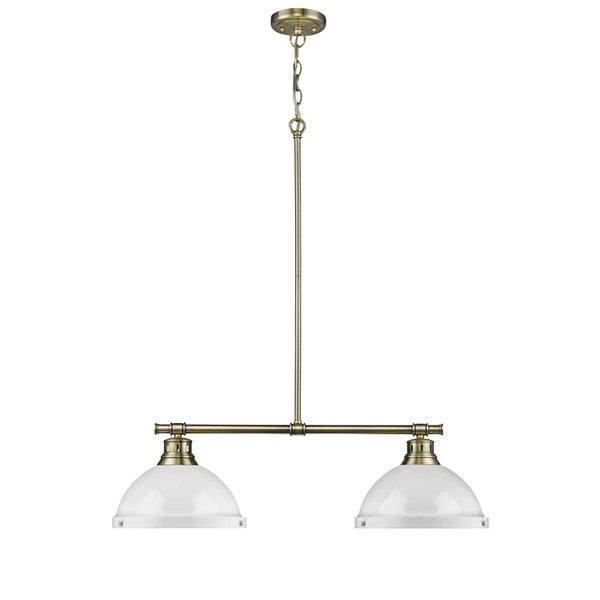 Duncan 2 Light Linear Pendant in Aged Brass with White Shades