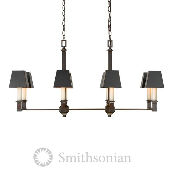 Bradley Cordoban Bronze Linear Pendant Light Fixture with Black Shades