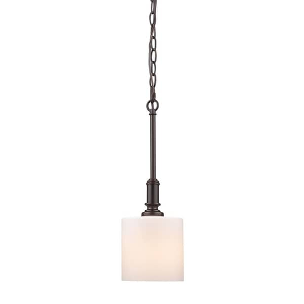 Beckford RBZ Mini Pendant in Rubbed Bronze with Opal Glass