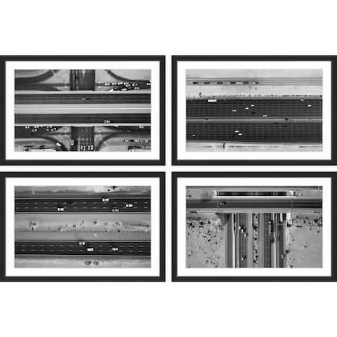 Marmont Hill - Handmade Traffic Lanes Quadriptych