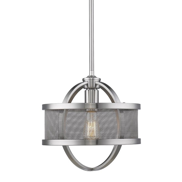 Colson Pewter Mini-Pendant with Mesh Metal Shade
