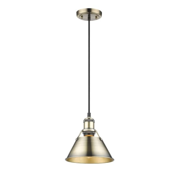 Orwell AB Mini Pendant - 10 inches in Aged Brass with Aged Brass Shade