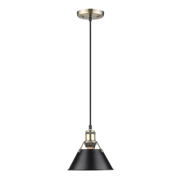 Orwell AB Mini Pendant in Aged Brass with Black Shade