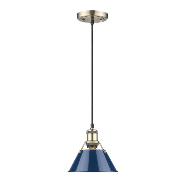 Orwell AB Mini Pendant in Aged Brass with Navy Blue Shade
