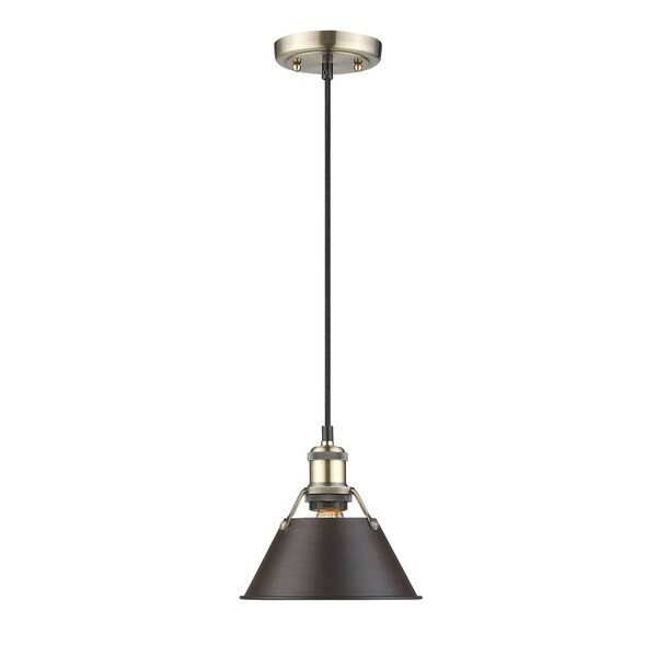 Orwell Aged Brass 7-inch Mini-Pendant with Rubbed Bronze Shade