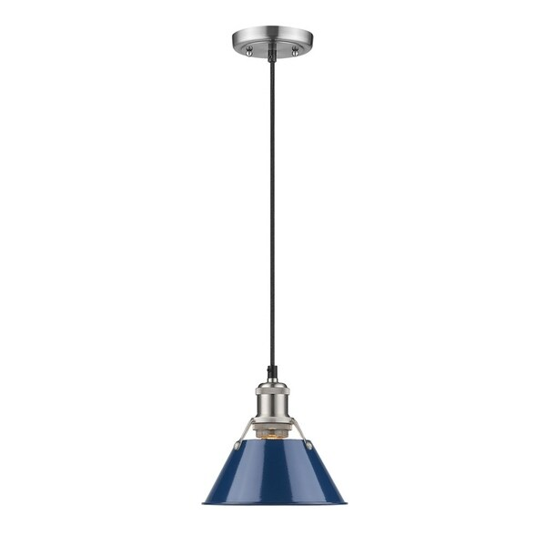Orwell Pewter 7-inch Mini-Pendant with Navy Blue Shade