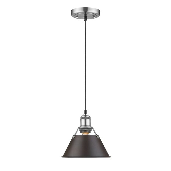 Orwell Pewter 7-inch Mini-Pendant with Rubbed Bronze Shade
