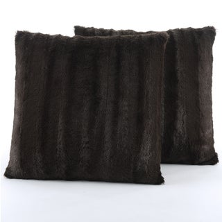 Cheer Collection Faux Fur 18-inch Square Decorative Pillow (Set of 2) (3 options available)