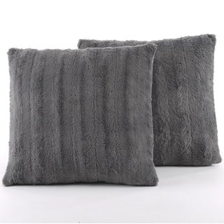 Cheer Collection Faux Fur 18-inch Square Decorative Pillow (Set of 2) (2 options available)