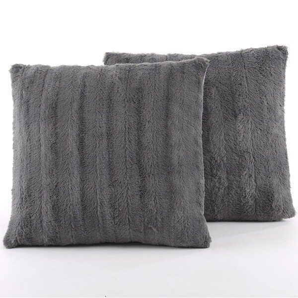 Cheer Collection Faux Fur 18-inch Square Decorative Pillow (Set of 2)