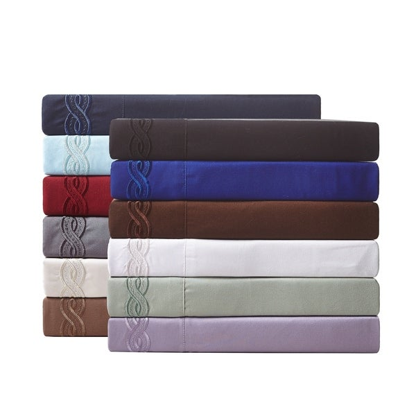 De Moocci Cable Embroidery Microfiber Ultra Soft Sheet Set