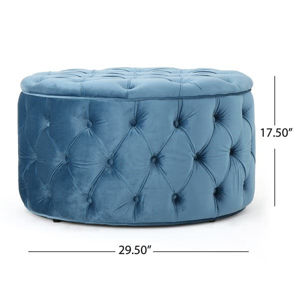 Zelfa Round Tufted Velvet Ottoman By Christopher Knight Home On Sale Overstock 14053761