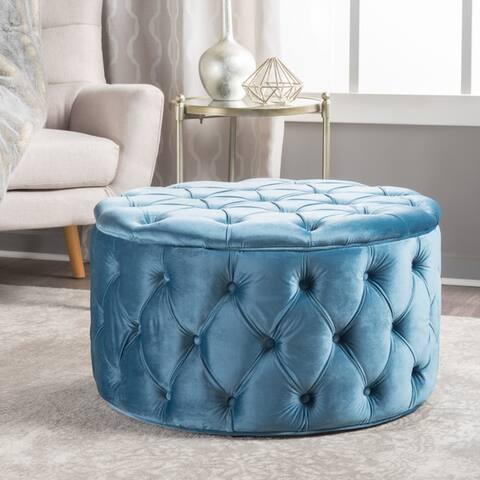 Zelfa Modern Glam Tufted Velvet Round Ottoman by Christopher Knight Home